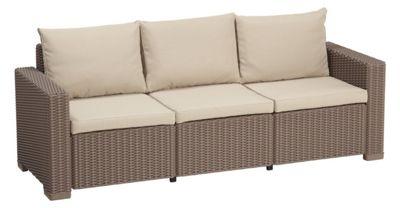 Gardenista Replacement 6 Piece Seat Pad Set for Keter Allibert California 3 Seater Sofa - Stone