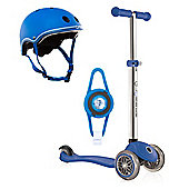 Globber Primo Scooter - Navy Blue with Helmet and LED Light