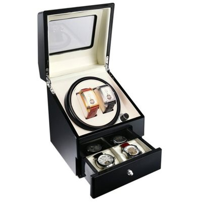 Time Tutelary Deluxe Automatic Watch Winder With Draw KA073-Black