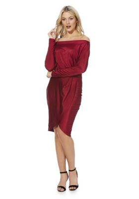 AX Paris Batwing Sleeve Wrap-Style Dress 10 Burgundy