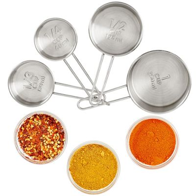 Andrew James Measuring Cups - Set of 4 Stainless Steel Measures from 25ml to 100ml