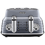 De'Longhi CTZ4003.GY Scultura 4 Slice Retro Classic Toaster - Grey