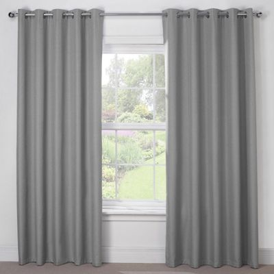 Julian Charles Luna Silver Grey Blackout Eyelet Curtains - 66x72 Inches (168x183cm)