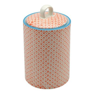 Nicola Spring Patterned Porcelain Tea / Coffee / Sugar Canister - Orange Print Design