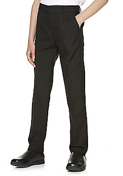 "F&F School 2 Pack of Boys Teflon EcoElite""™ Flat Front Slim Leg Plus Fit Trousers - Black"