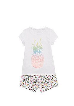 F&F Pineapple Print T-Shirt and Shorts Pyjama Set - White