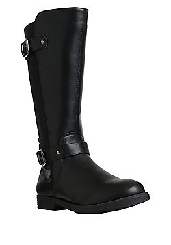 F&F Double Buckle Elastic Panel Riding Boots - Black