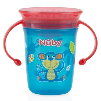 Nuby 360 Mini Handle Baby Training Spill Proof Seal with Watertight Coverlid Cup Blue