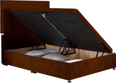Luxan Harvard Ottoman Divan Base - Truffle Velvet Fabric - Small Single 2ft6