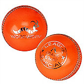 6 X Woodworm League Special 5 1/2Oz Cricket Ball Orange