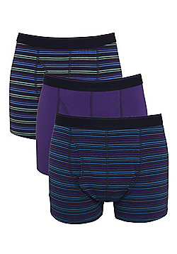 F&F 3 Pack of Striped and Plain Trunks - Purple