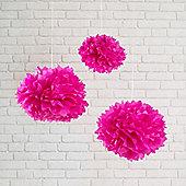 Set of 3 Fuschia Pink Tissue Paper Pom Poms