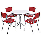 Rydell Round Table and 4 Chairs Set, Red