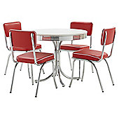 Rydell Dining Table and 4 Chair Set, Red