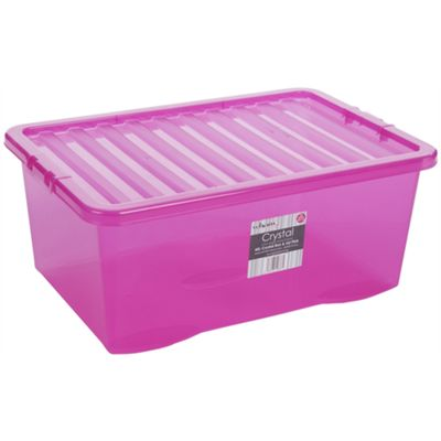 Wham 45L Crystal Box & Lid Tint Pink - Pack of 5