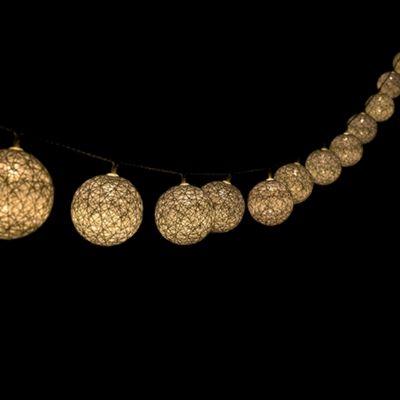 MiniSun Set of 20 Bjorn Rattan Rope LED String Lights - White
