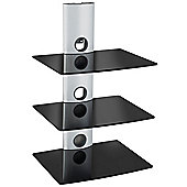 VonHaus 3 x Floating Black Glass Shelves for DVD/Blu-Ray Player, Sky/TiVo Box, Game Console