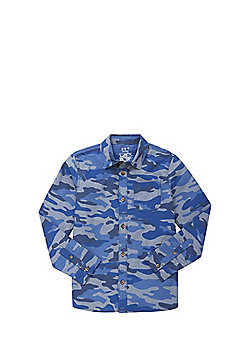 F&F Camo Print Chambray Shirt - Blue