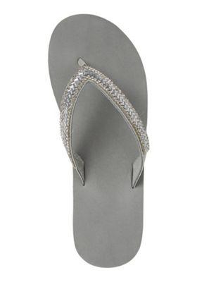 F&F Beaded Wedge Flip Flops Grey Adult 5-6