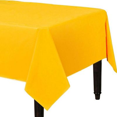 Yellow Plastic Tablecover - 1.4 x 2.8m