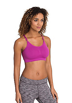 Zakti Perfect Poise Yoga Bra IsoCool Fabric w/ Racerback and Centre Bust Ruching - Purple