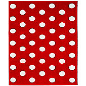 Red and White Spotty Rug - 100 x 150 cm