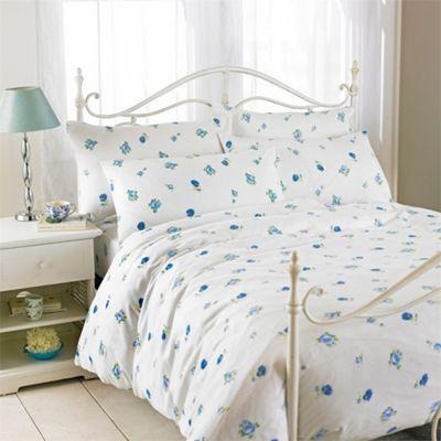 Riva Home Rose Printed Flannelette Blue Flat Sheets - Single