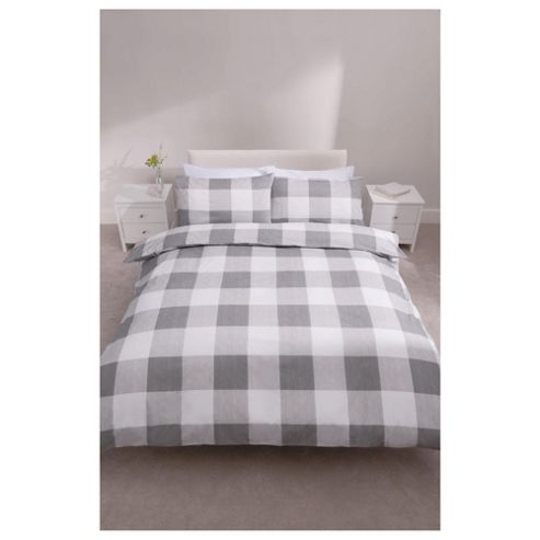 Tesco Check Print Duvet Cover Set Grey King