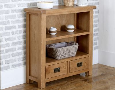 Worcester - Oak Bookcase / 2 Drawer Small Storage Unit