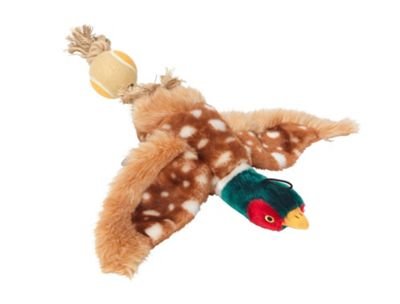 Plush Pheasant Featuring Rope Tail And Tennis Ball Dog Toy