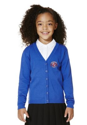 Girls Embroidered Scallop Edge School Cotton Cardigan with As New Technology 7-8 years Royal blue