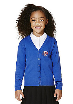 Girls Embroidered Scallop Edge School Cotton Cardigan with As New Technology - Royal blue