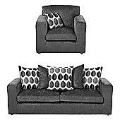 Whitton Armchair + 3 Seater Sofa Set, Dark Grey