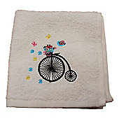 Homescapes Egyptian Cotton Embroidered Bicycle White Face Cloth