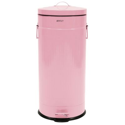 Charles Bentley 30L Retro Round Steel Kitchen Bin Pink