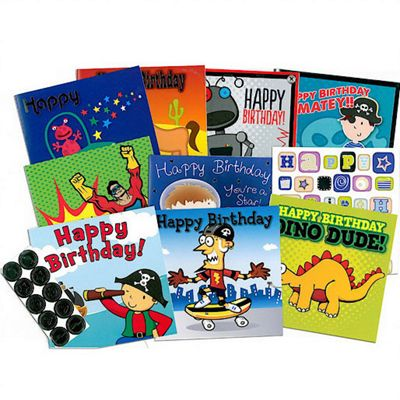 The Entertainer 10 Birthday Cards Blue Pack with Envelopes and Stickers