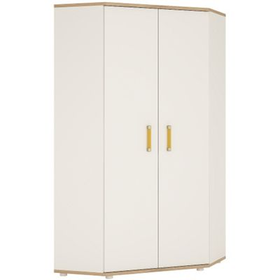 4KIDS Corner wardrobe in light oak and white high gloss with orange handles