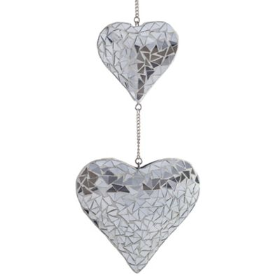 Hanging Silver Mirror Mosaic Duo Heart Ornament for the Garden or Home