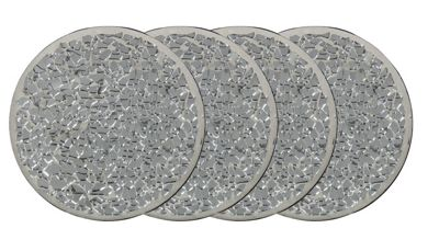 Set Of 4 Round Silver Mosaic Coasters