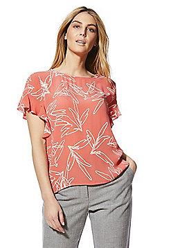 Vila Ruffle Sleeve Abstract Print Top - Coral