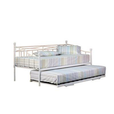 Comfy Living 3ft Single Everyday Day Bed in White TRUNDLE INCLUDED with 2 Damask Sprung Mattresses