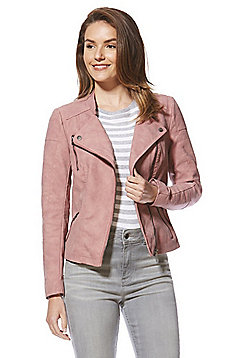 Only Faux Nubuck Biker Jacket - Soft pink
