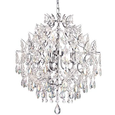 Litecraft Belize 3 Bulb Crystal Ceiling Pendant, Chrome