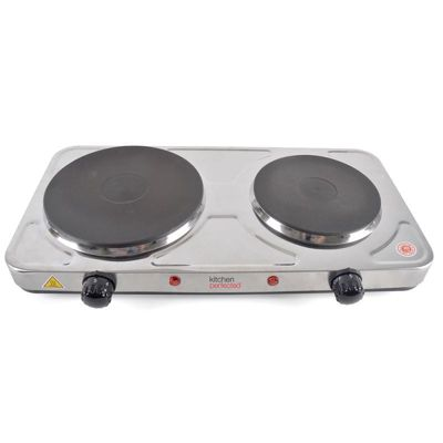 KitchenPerfected 2500w Double Hotplate - Brushed Steel