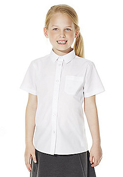 F&F School 2 Pack of Girls Easy Iron Short Sleeve Shirts - White