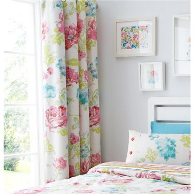 Catherine Lansfield Stab Stitch Floral Multi 66x72 Inch Eyelet Curtains