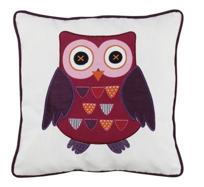 White Cushion with Decoupage Red Owl Vintage Style