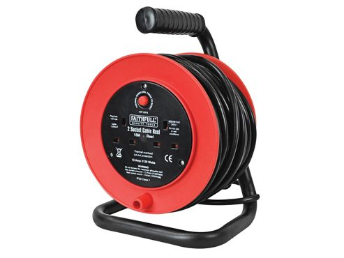 Faithfull Open Drum Cable Reel 240 Volt 15 Metre 13 Amp 2 Socket
