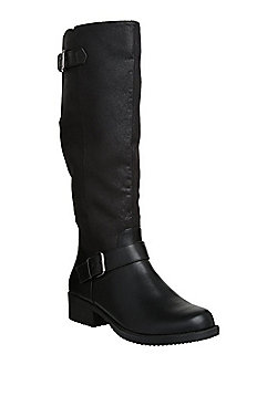 F&F Wide Fit Buckled Knee High Biker Boots - Black