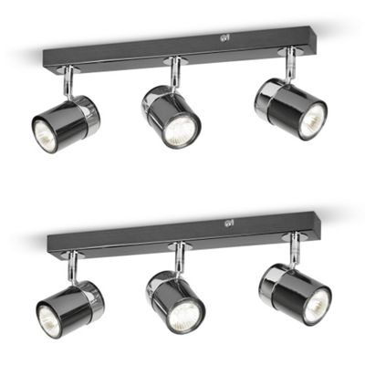 Pair of Rosie 3 Way Ceiling Spotlights, Black Chrome and Chrome